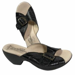 Fly London black slip on sandals mules shoes
